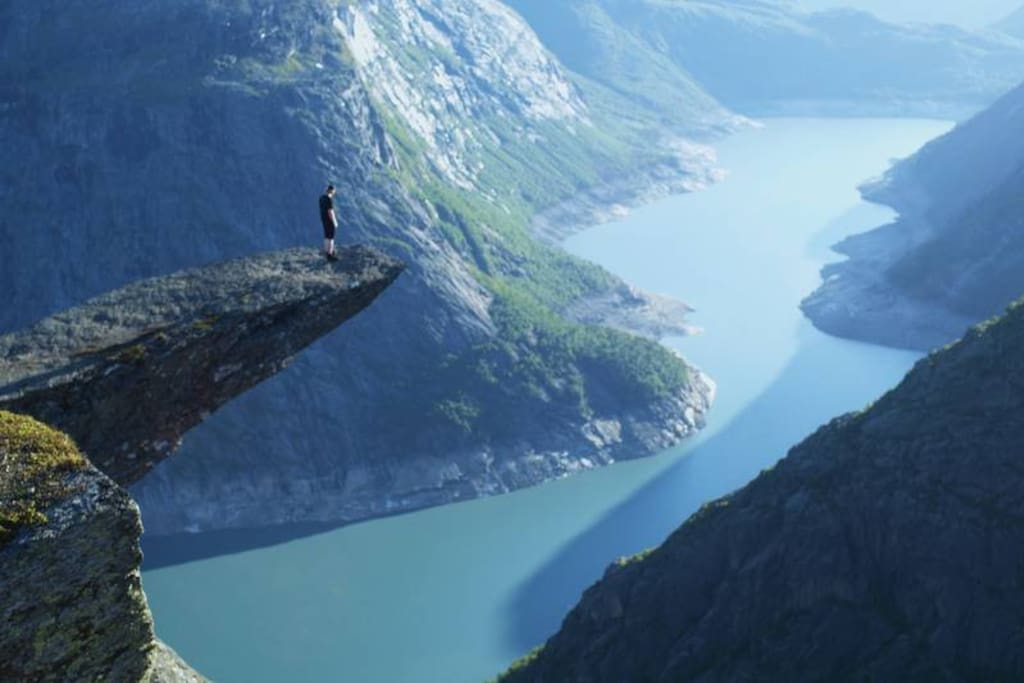Trolltunga: 1,5 hour away by car to where the path begins.