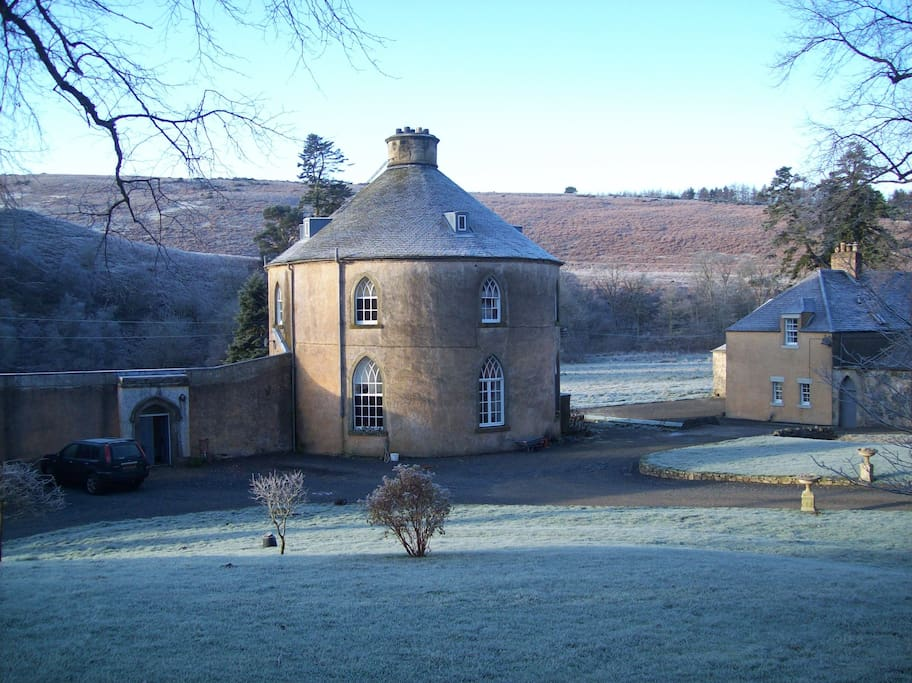Frosty day. Flat is to the left of the Round House