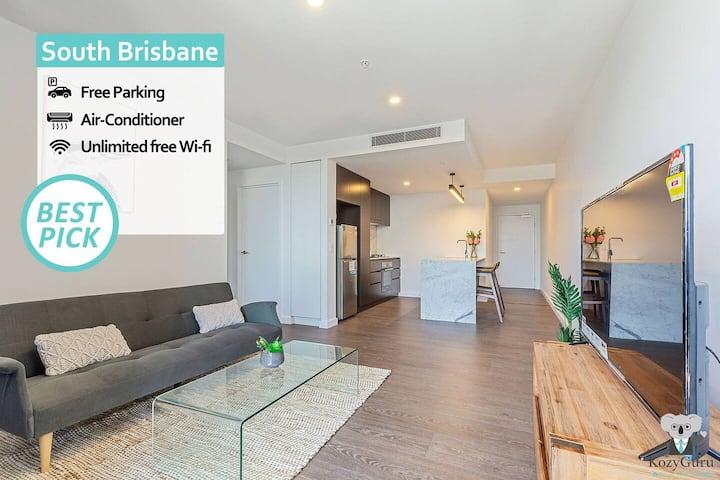 KOZYGURU   South Brisbane   Kozy 1Bed APT + FREE Parking   BRISBANE ONE