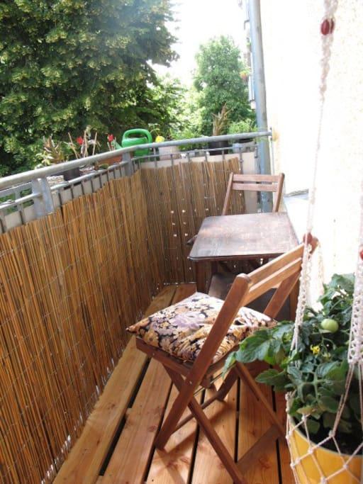 Lush balcony with allday sun