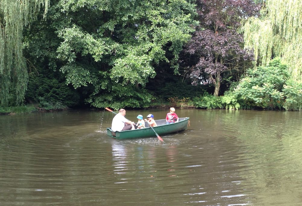 Lots of fun for all the family on the lake! Messing about in boats. Fishing for carp!