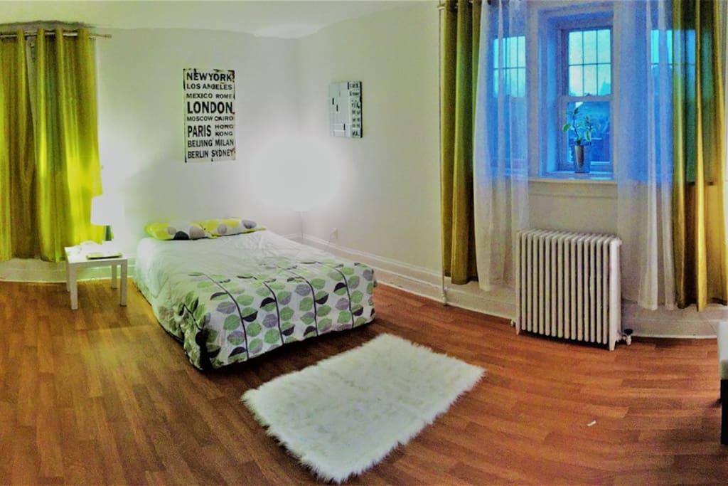 Large master suite.  Four windows, large closet, double bed.