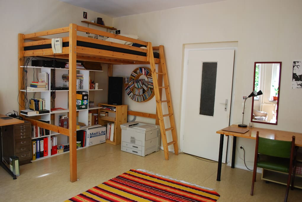 Loft bed offers storage area underneath. Bed is super comfortable.