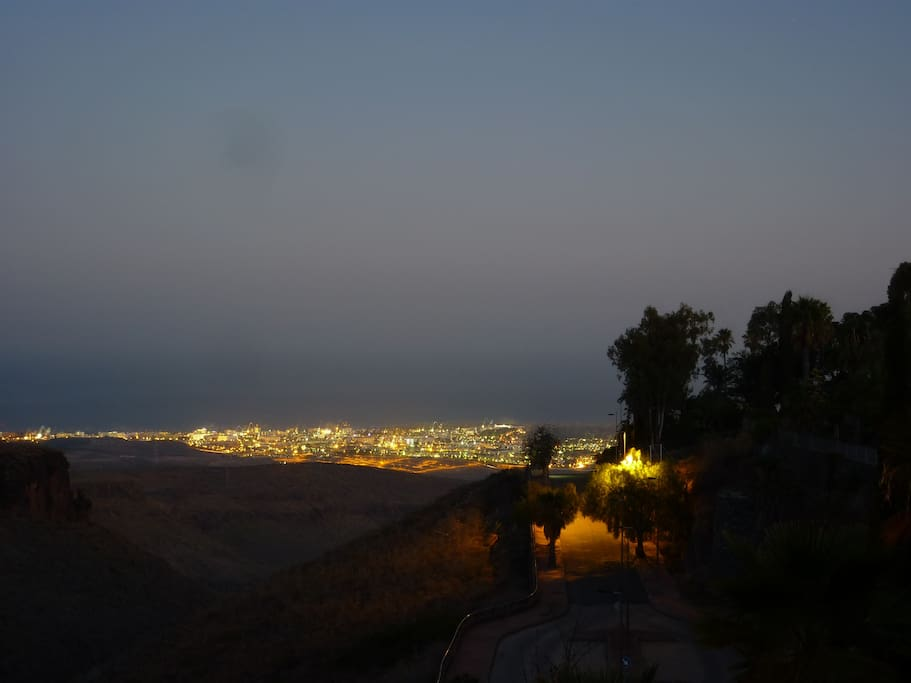 View from terrace by night