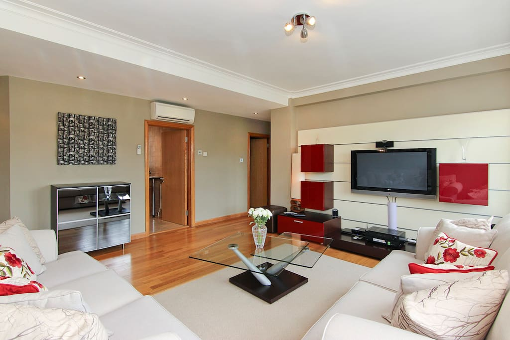 Luxurious Lounge, large comfortable sofas, and excellent TV and sound systems.