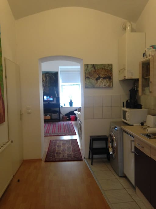Kitchen with refrigerator, washer/dryer, toaster, kettle, microwave and pizza ovens, hotplate