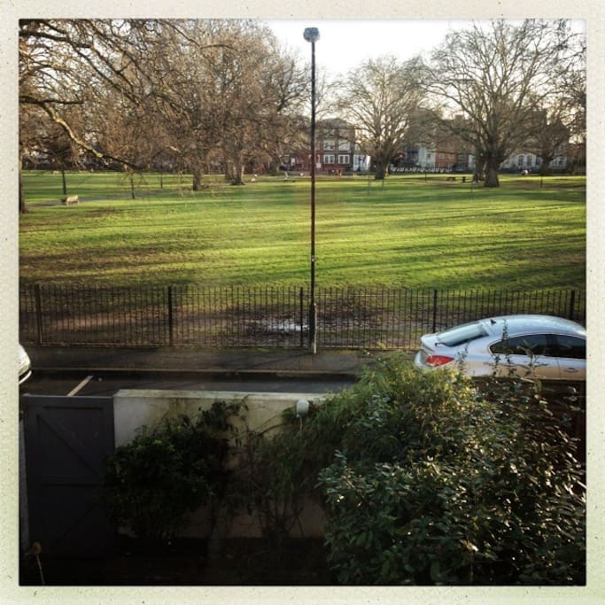 View of London Fields from the bedrooms. Wintery shot, even better in other seasons.