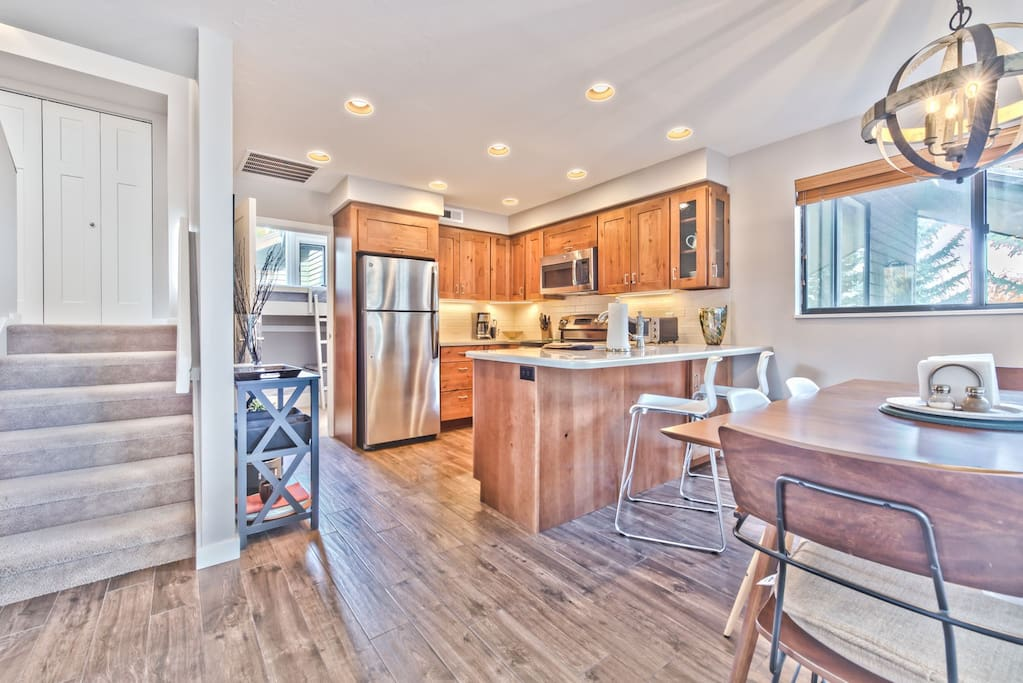 Kitchen and Dining Area with Beautiful Hardwood Floors