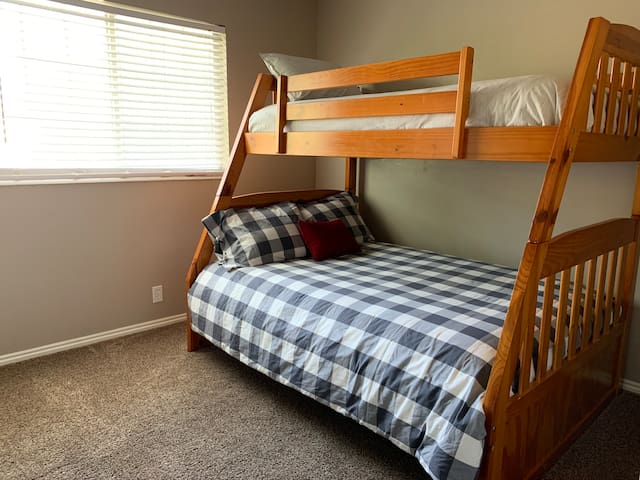 2nd bedroom. Twin over full bunk bed.