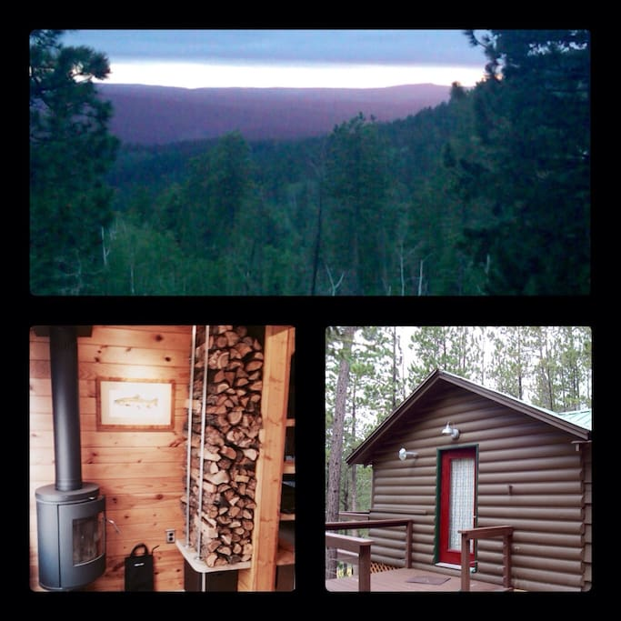 1.  View from cabin lookout deck. 2.  Interior photo of the wood burning stove and wood storage.  3.  View of the cabin main entry deck and door.