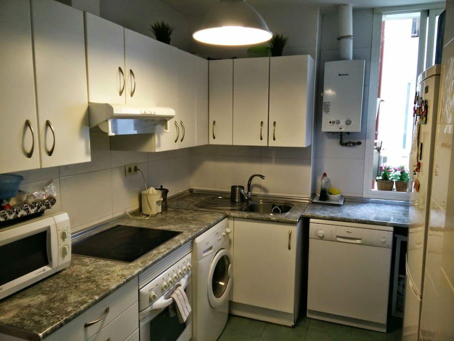 Cocina: Limpia, totalmente equipada, espaciosa, horno, vitro,luminosa.