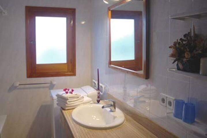 Baño completo equipado con toallas, papel de WC y secador de pelo.