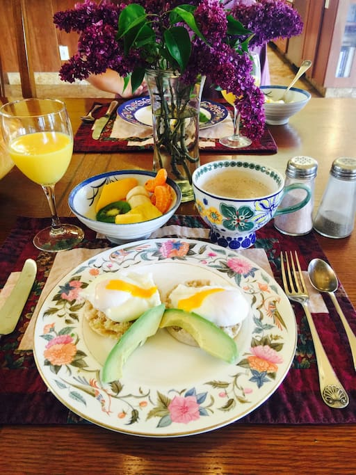 Breakfast time is a treat with delicious eggs from our hens.