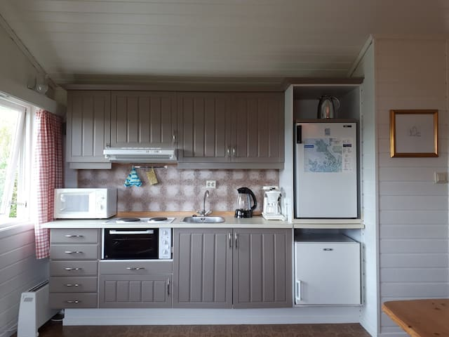 Equipped private kitchen with small stove, refridgerator, freezer, microwave, coffe-machine, kettle etc