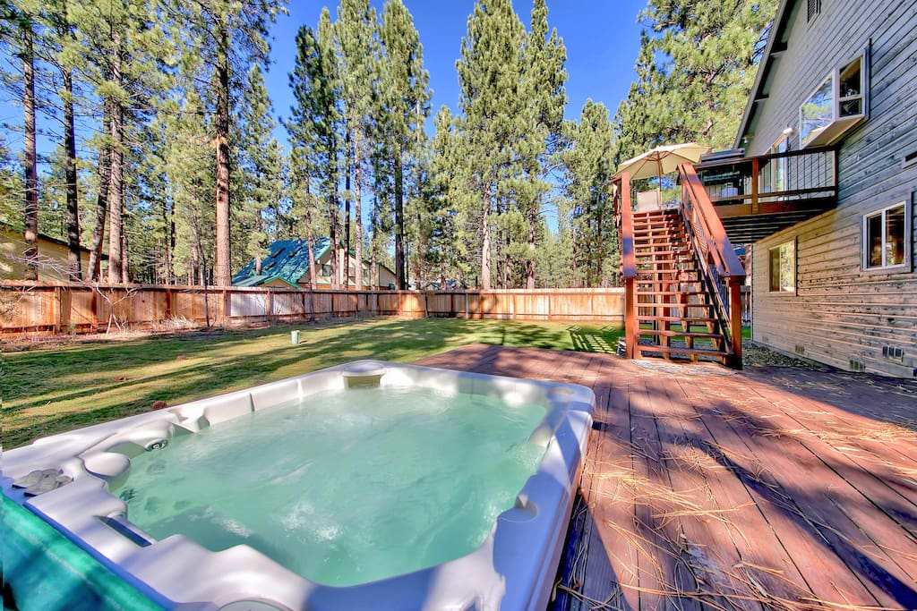 A private hot tub offers the perfect end-of-day escape.