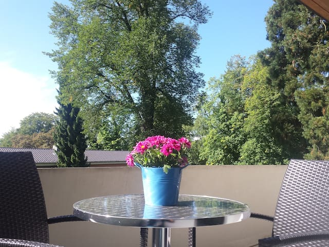 Zimmer mit Ensuit-Bad, Balkon, ruhig, grün, seenah