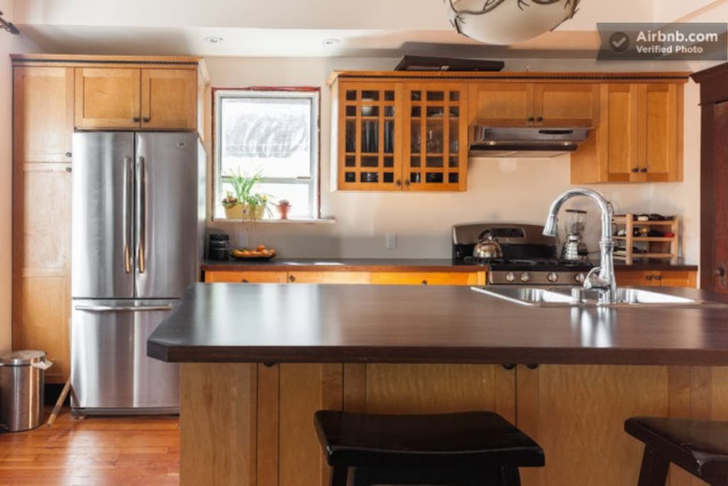 Renovated kitchen with island.