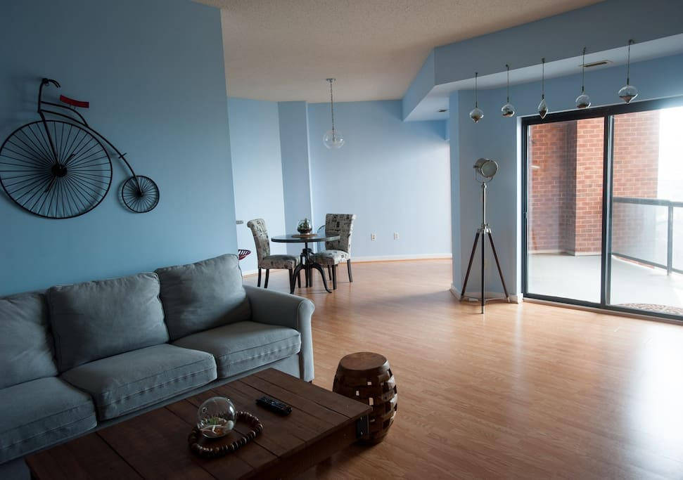 Living room with view of dining table