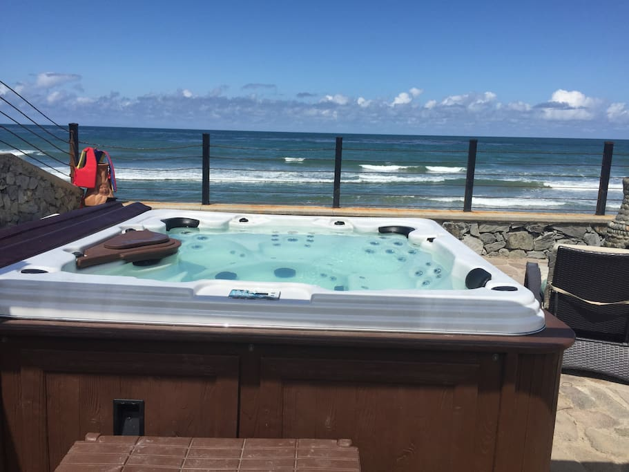 Our 90 jet hot-tub overlooking the ocean