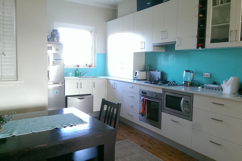 Fully Equiped New Kitchen. Fridge, Dishwasher, Microwave, Coffee Machine and table for up to 6-8 people.