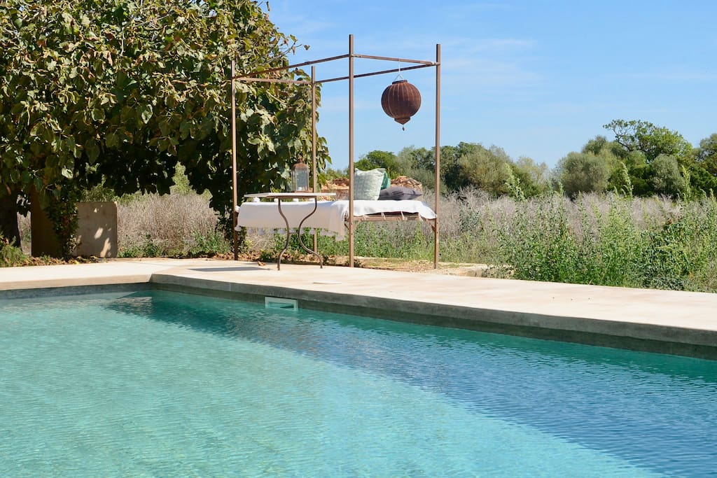 Pool area with shower under the figue-tree