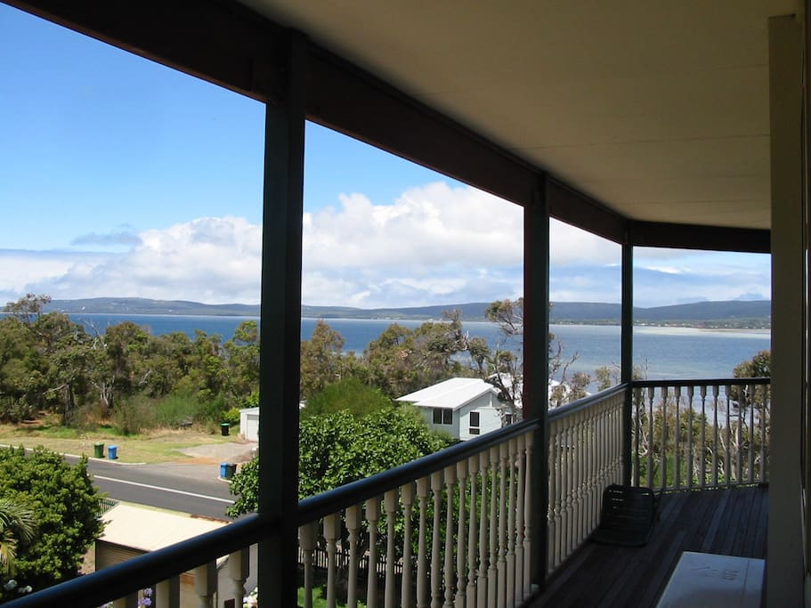 This is the view from the Banksia room, with its own veranda space.