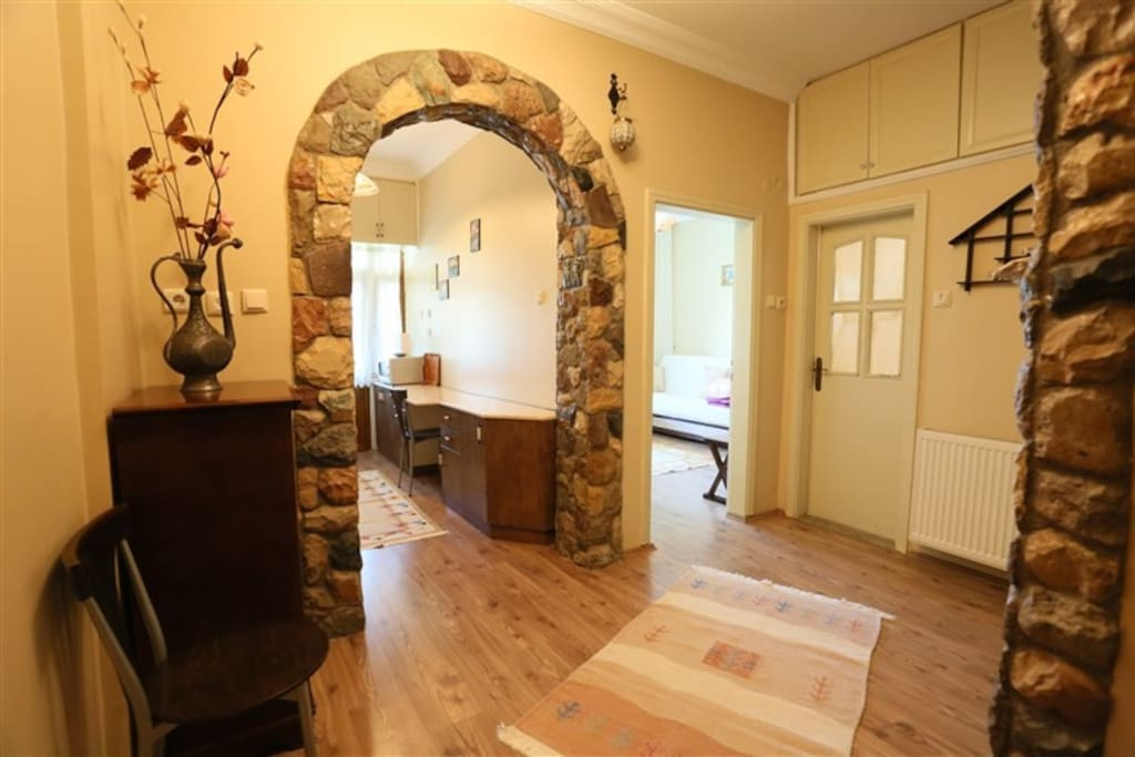 Enterance, on the left side is the kitchen and mid. door is the 2. room and third door is the bath