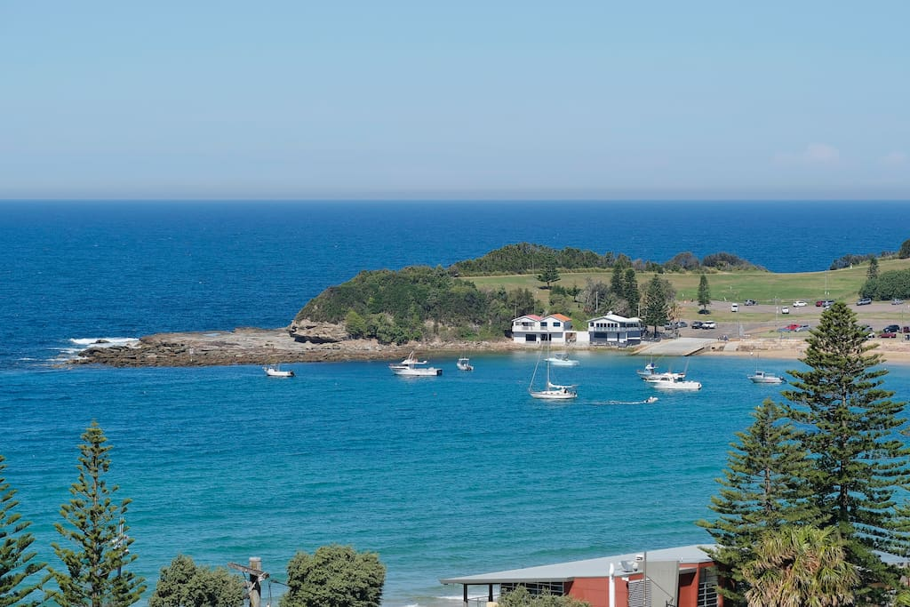 Terrigal beach and the Haven from the balcony.