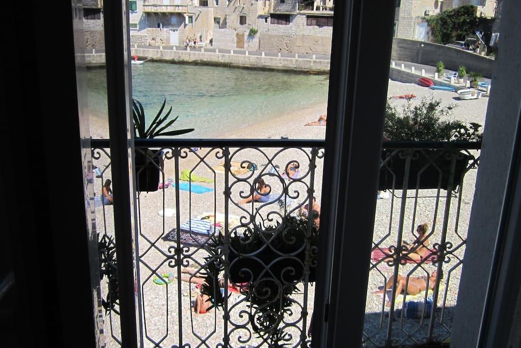View of the beach from the bedroom