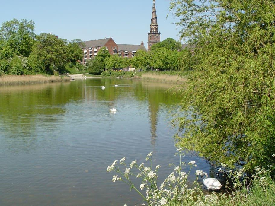 Ejendommen er nabo til Vor Frelser Kirke med udsigt over hele København fra tårnet.