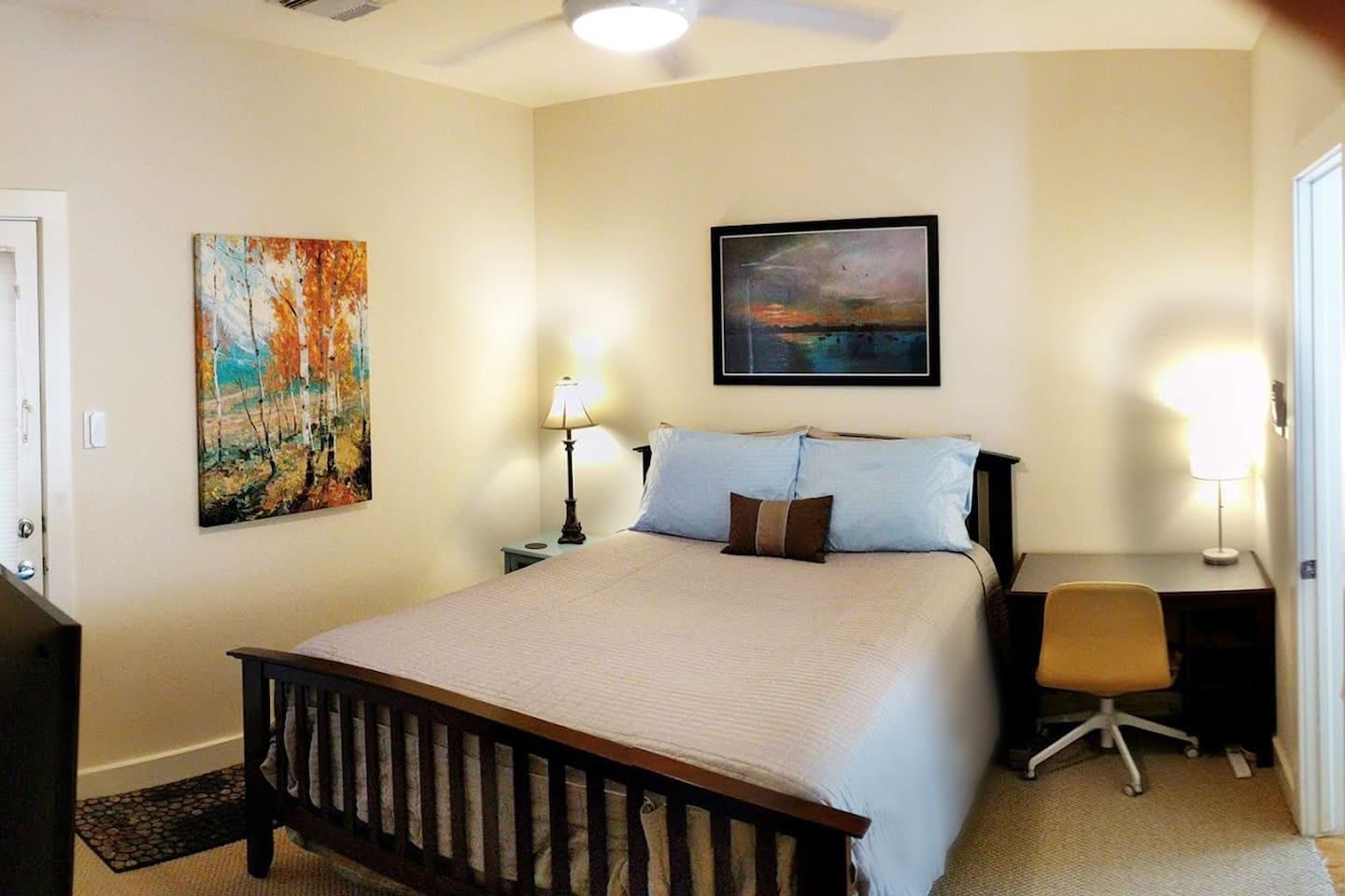 Queen size bed easily sleeps two. Always fresh sheets and pillows in your private bedroom, which is blocked off from the rest of the home.