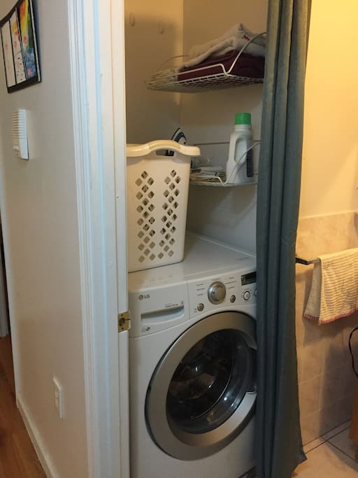 Washing machine in the bathroom (drying rack available)