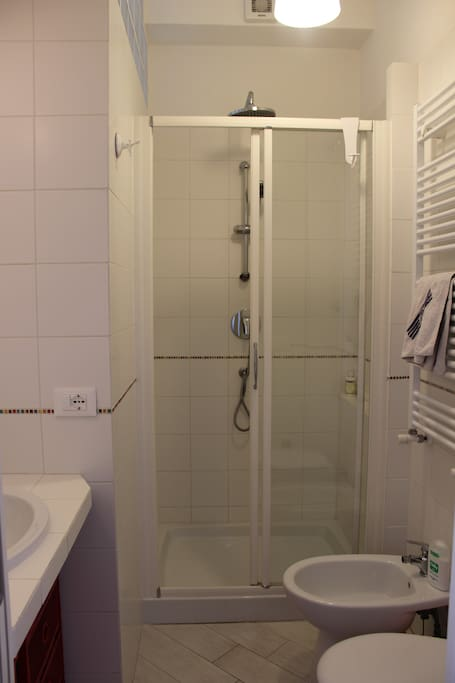 The bathroom with a big shower