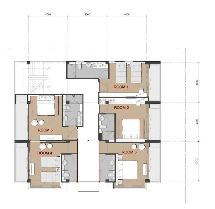 Floor plan, You get 5 rooms on the whole floor with private entrance.