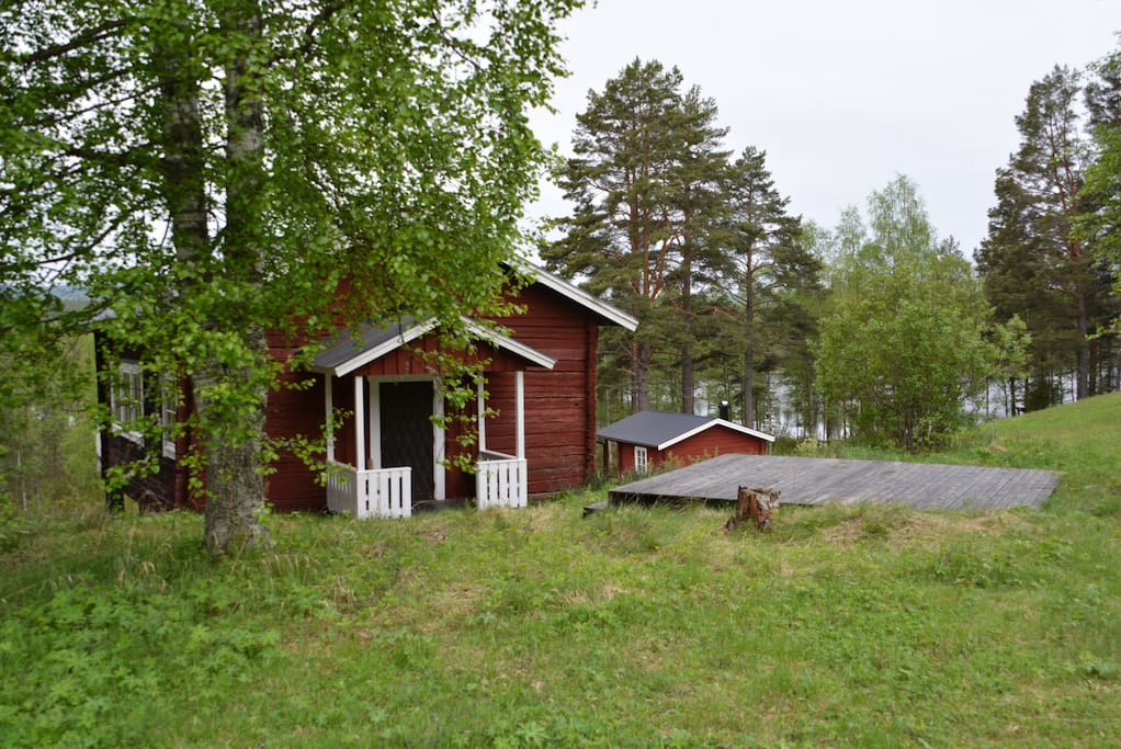"""Cottage nr 1 """"Storstugan""""  The old rebuilt barn is modern in it's expression and have a lot of space for eating and socializing"""