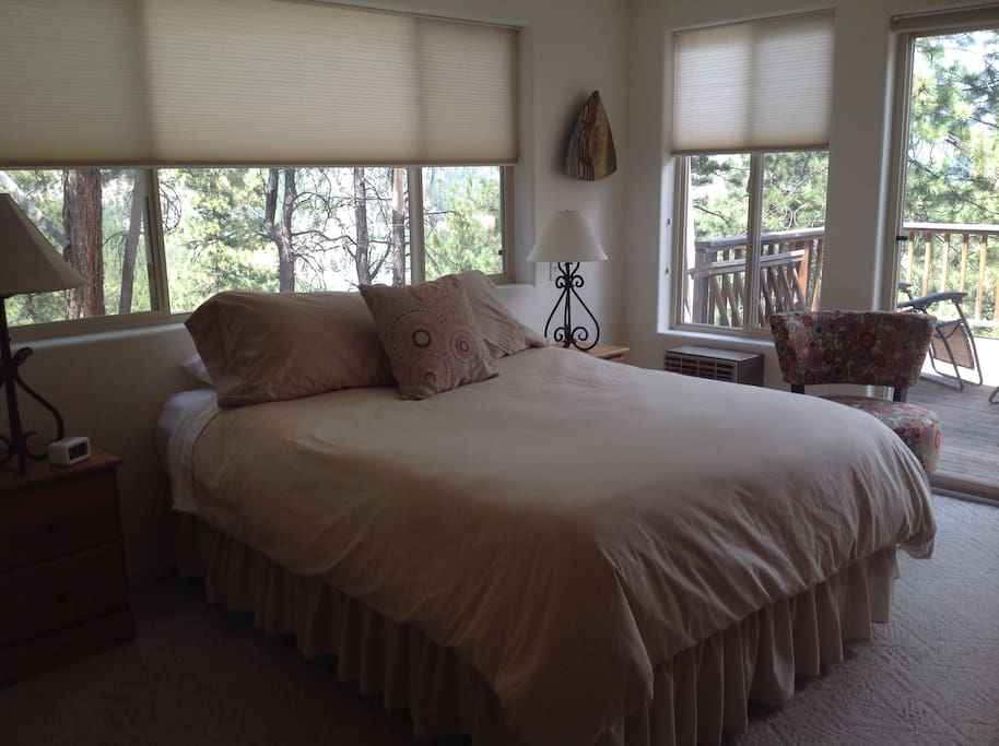 Main level bedroom with queen bed and large deck for relaxing.