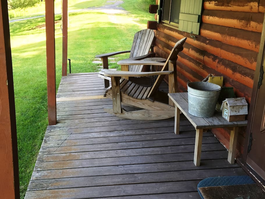 Relax on the porch and watch nature stroll, or fly, by!