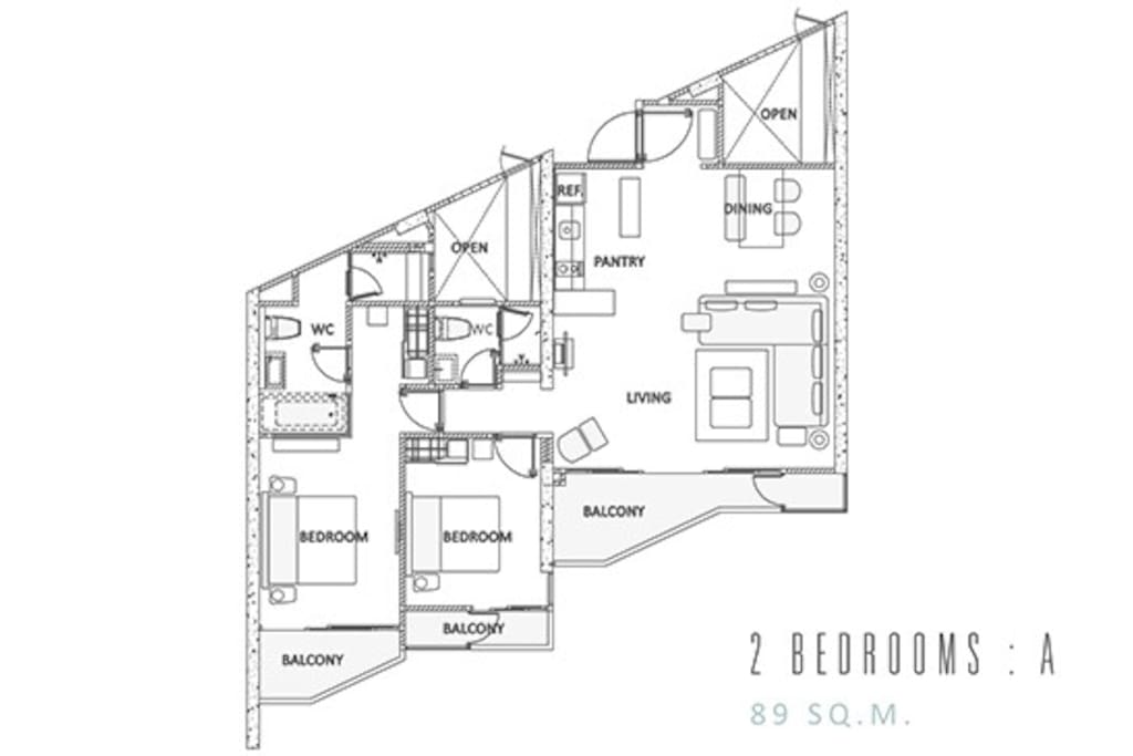 Floor Layout of two bedroom appartment