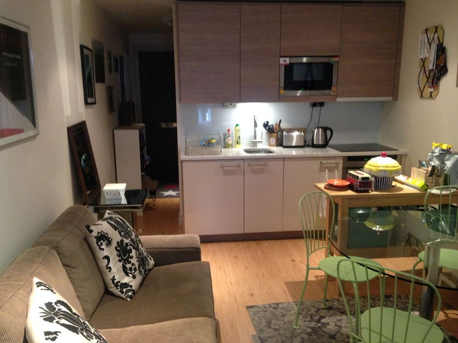 Kitchen equipped with all crockery, full size oven, electric hob, microwave.