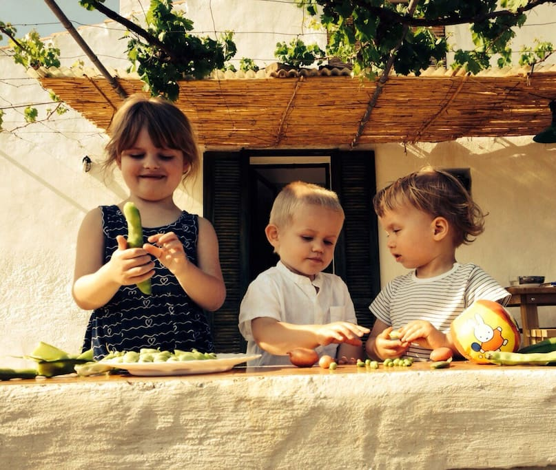 Our young guests helping with lunch