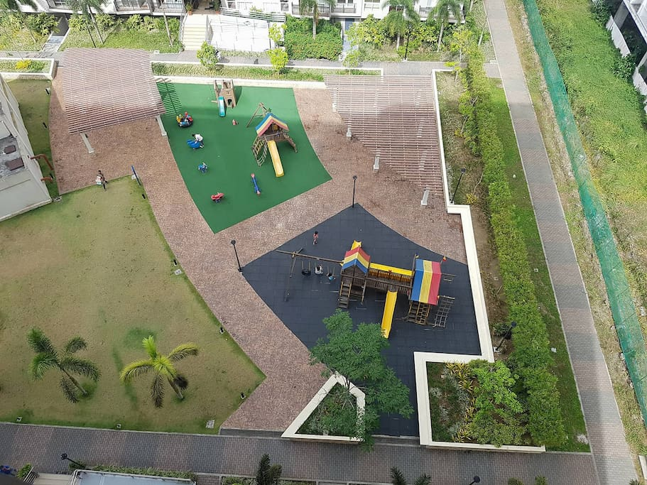 "Kids and ""kids at heart"" friendly playground. This can be viewed from the unit."