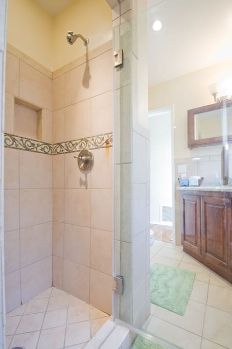 A view of your shower and seeing through the glass door to the mirror and vanity with marble counter tops.