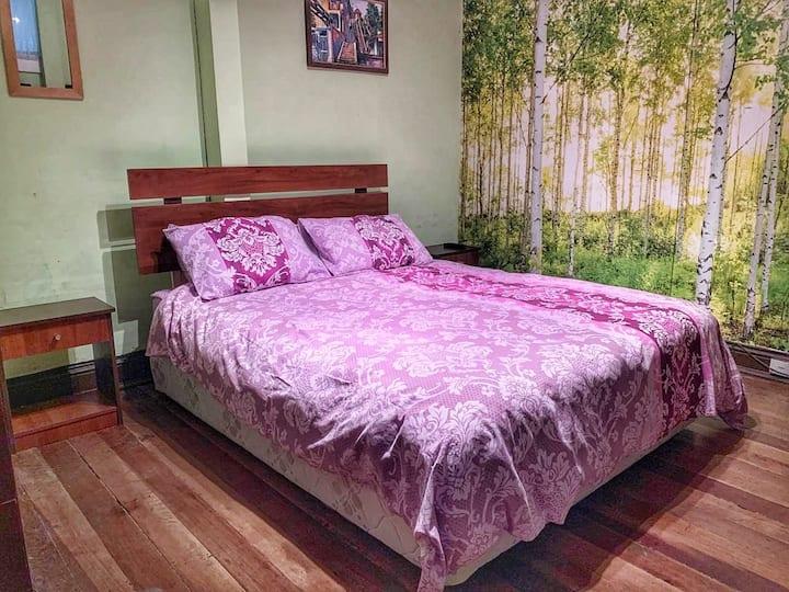Habitación interior con cama matrimonial