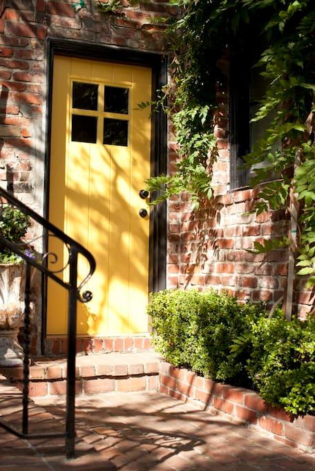 Entrance yellow door