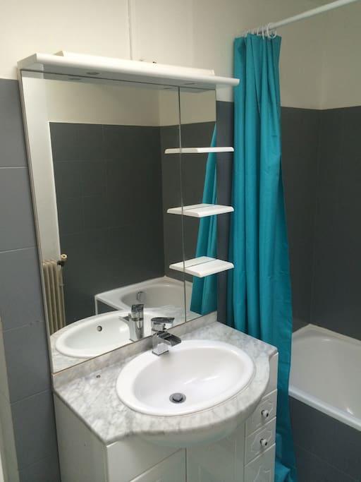 Grande salle de bain avec baignoire, lavabo et toilette.