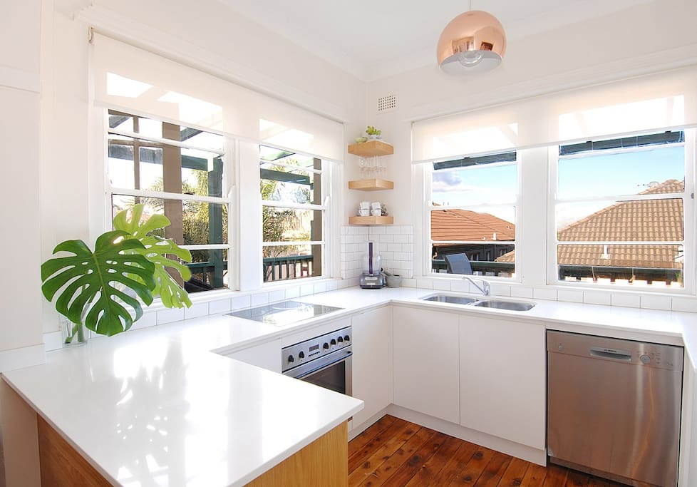New, gourmet kitchen with views to Bondi Beach
