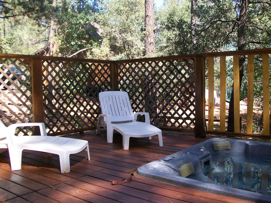 Full size Jacuzzi on a large deck