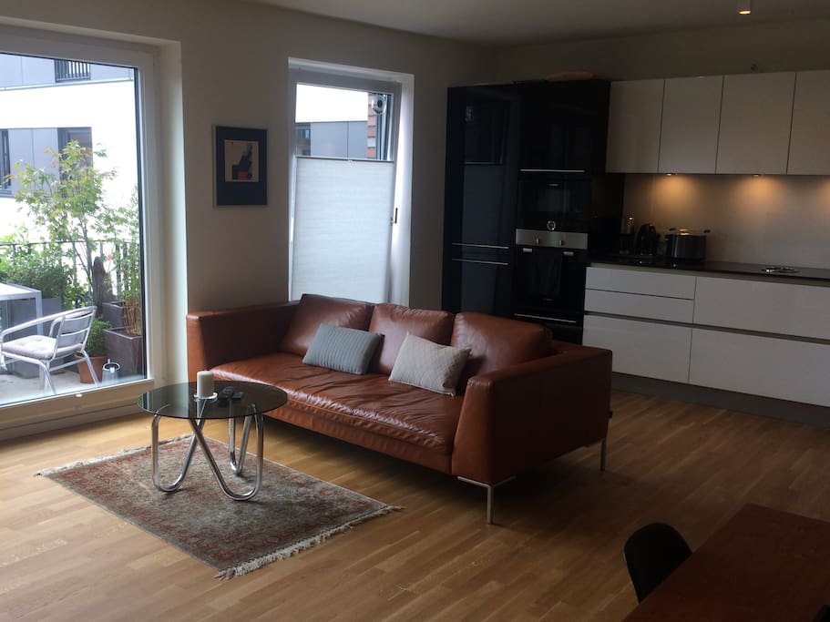 Large living-dining room with direct access to balcony