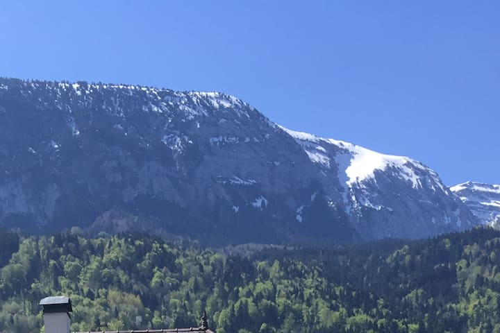 Vue sur le Bargy, montagne des Alpes, depuis la chambre.