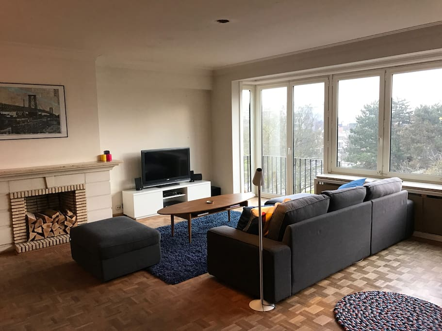 Living Room with view over the Gent-Zuid park.
